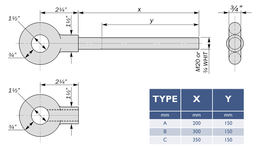 eyebolts and eyenuts to BS1320 diagram drawing table dimensions