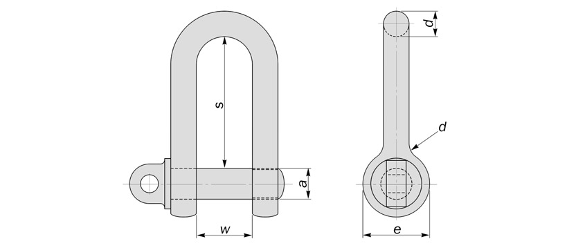 large d shackles to BS3032 diagram drawing