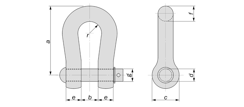 overhead powerline shackles to BS3288 diagram drawing