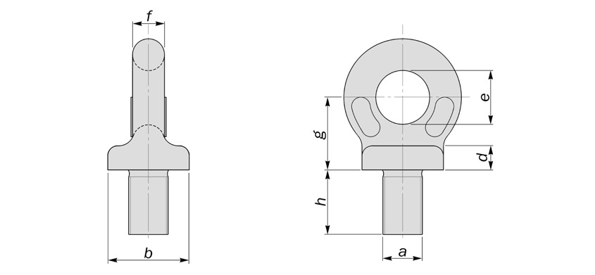 collared eyebolts to BS4278 metric diagram drawing