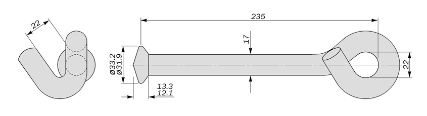ball ended hooks to BS3288 diagram drawing