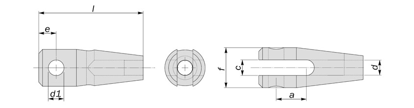 machined clevis fork end diagram drawing