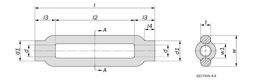 round turnbuckle open body diagram drawing
