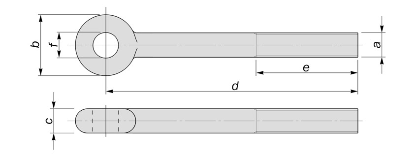 shackle eyebolts with curved sides diagram drawing
