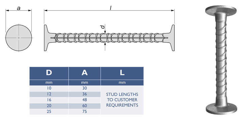 double headed shear studs diagram drawing table dimensions