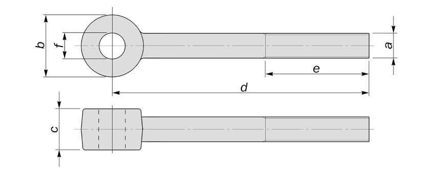 swivel eyebolts with increased eye thickness diagram drawing