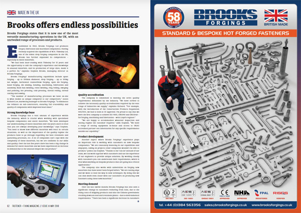 fastener and fixing magazine feature may 2018 brooks forgings