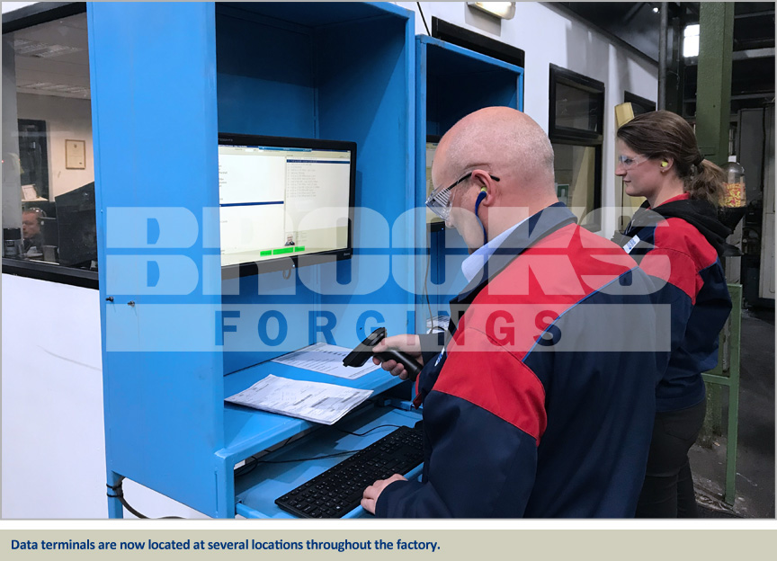 brooks forgings install data terminals in factory