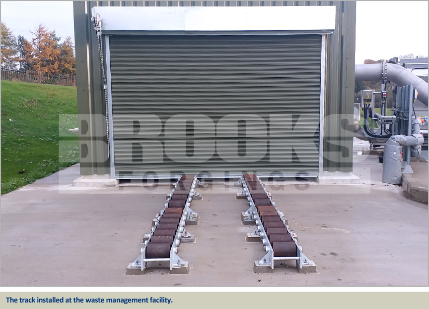roller track fabrication for waste management facility
